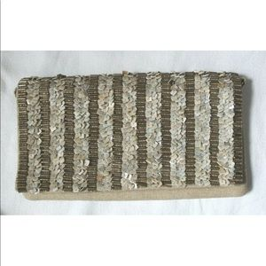 Chicos Embellished Clutch Bag gold shell chain NEW